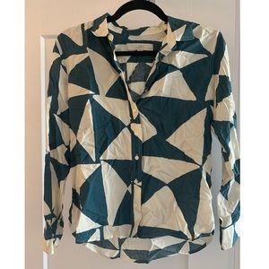 Loft button-down blouse with asymmetrical pattern